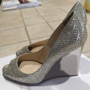"Jimmy Choo silver ""Baxen"" Shimmering wedge shoes"